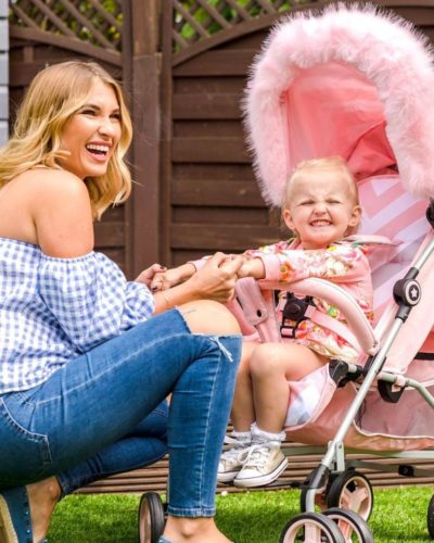 """Designed in collaboration with Billie Faiers as part of her """"Signature Range"""", our trend-setting pink chevron lightweight stroller was created so you and your little can stroll together in style. Stroll, fold, stow, and go. With the My Babiie MB02 Lightweight stroller range, we make it easy for modern parents"""
