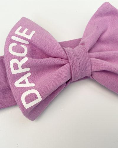Itty Bitty Purple Personalised Bow Headband