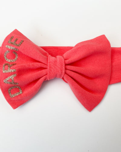 Itty Bitty Coral Personalised Bow Headband