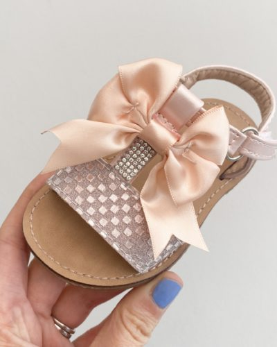 Glitter Paloma T Bar Diamante Pink Bow Sandals