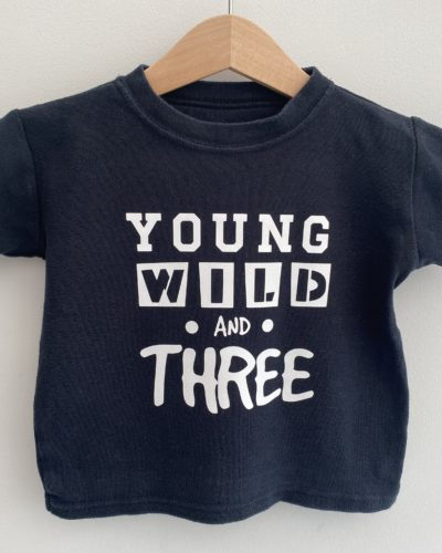Itty Bitty Young Wild And Three Black T-shirt