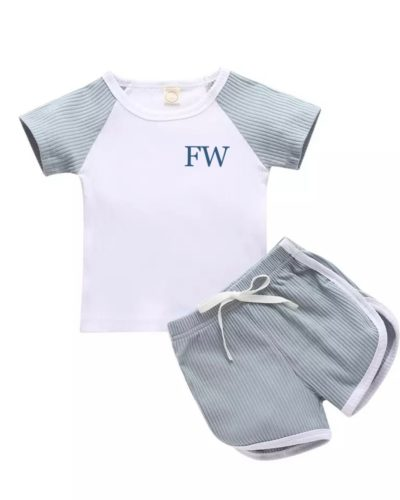 Itty Bitty Ice Blue 2 Piece Ribbed Top and Shorts Set