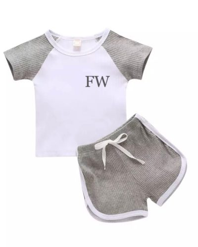 Itty Bitty Grey 2 Piece Ribbed Top and Shorts Set