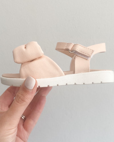 Itty Bitty Pink Blush Leather Bow Strap Sandals