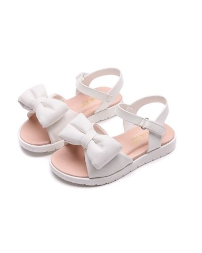 Itty Bitty White Leather Bow Strap Sandals