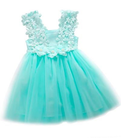 Itty Bitty Blue Lace Flower Dress