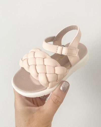 Itty Bitty Pink Weave Strap Sandals
